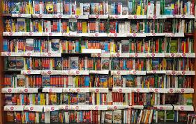 Shelves with books, bookshelf