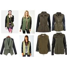similars to eleanor s safari jacket with leather sleeves polyvore