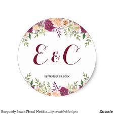 Classic Sticker Design Burgundy Peach Floral Wedding Monogram Classic Round Sticker