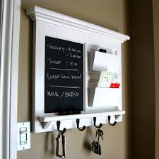 Kitchen: Nice White Framed Kitchen Chalkboard With Mail Storage And 4 Black  Hooks - Chalkboard