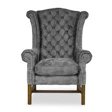gray wingback chair. Crown Wingback Chair-Suez Leather Gray Chair