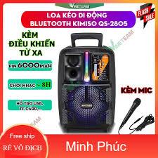 Loa Kéo Di Động Bluetooth Không Dây Kimiso Qs-2805/Qs-7801 Kèm Micro Có Dây  , Âm Thanh Chất Lương Cao, Âm Bass Hay - Loa Bluetooth