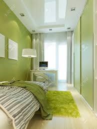 Jugendzimmer Mit Einem Bett Und Einem Schreibtisch Mit Einem Laptop