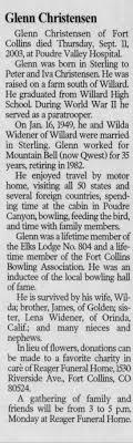 Obituary for Glenn Christensen - Newspapers.com