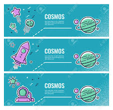 Flyers Theme Vector Set Of Flyers Icons On The Theme Of Space In The Style