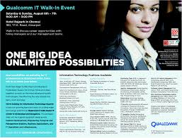 Experienced Walk In Qualcomm Multiple Skills Chennai