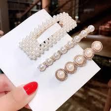 <b>2019 Fashion</b> 2 8pcs/set <b>Women Pearl</b> Hair Clip Snap Hair Barrette ...