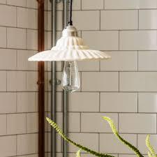 fai fluted off white ceramic pendant light
