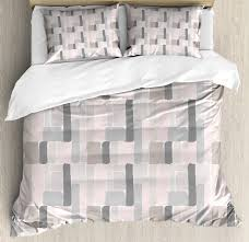 geometric duvet cover set king size brush stroked blocks of painting in mild soft pastel colors on cream background decorative 3 piece bedding set with 2