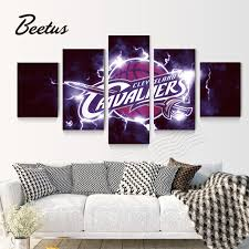 5 panel wall art game cleveland cavaliers logo basketball sports canvas prints poster for living room on cleveland cavaliers wall art with 5 panel wall art game cleveland cavaliers logo basketball sports