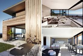 smart design studio have created this modern beach house that overlooks the beach on the edge