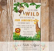 Jungle Theme Birthday Invitations Wild With Excitement Jungle Theme Zoo Animal Birthday Party Invitation