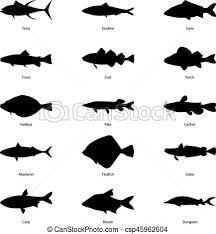 ベクトル 魚 シルエット セット イラスト