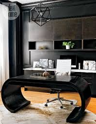 modern home office featuring glossy white. Modern Office - Style At Home Sarah Blakely\u0027s Ottawa Home, Warm Whites, Dramatic 5 Moody Office, Black Walls Camoflage Dark Wood Cabinets Featuring Glossy White S
