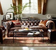 tufted leather sofa chesterfield leather sofa pottery barn xoqygdu