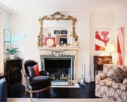 view in gallery eclectic living room with a traditional marble fireplace