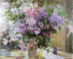 purple and white flowers oil painting handmade oil painting home decorative wall art on canvas