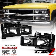 All Chevy 95 chevy headlights : 1988-1998 Chevy C10 C/K Suburban Yukon Tahoe Black Headlights ...