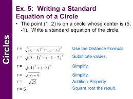 7 circlescircles example 4 writing equations of circles write the standard equation of the circle center 1 9 8 7 radius of 3 x 1 9 2 y 8 7 2