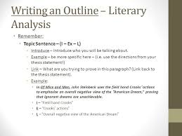 english iii of mice and men literary analysis outline i ex  writing an outline literary analysis remember topic sentence i ex