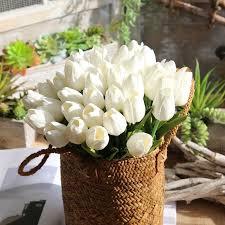 <b>10pcs</b> / <b>set Artificial</b> PU Tulip Rose Real Touch Wedding party ...