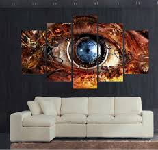 canvas print painting 5 panel hd printed oil painting steampunk abstract eyes wall art pictures for