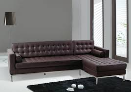 Stylish Contemporary Dark Brown Tufted Futon Leatherette Sectional Sofa  With Chaise Left Side Using Square Track
