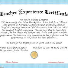 Fresh Teacher Experience Certificate Sample Down As Experience