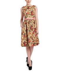 Lindy Bop Size Chart Lindy Bop Beige Audrey Floral A Line Dress Plus Too