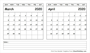 Printable Blank Two Month Calendar March April 2020 Template
