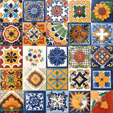4 x4 assorted mexican ceramic handmade tiles