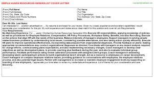 resources generalist cover letterhuman resources generalist cover letter