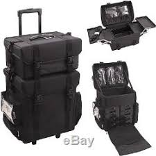 rolling trolley professional black train case makeup artist soft sided storage