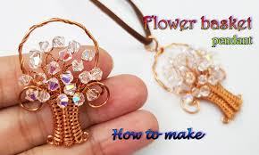 spring flower basket pendant with sparkling crystal how to make jewelry for copper wire 446