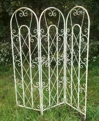 Decorative Metal Yard Signs Metal Cross Curl Tri Panel Privacy Screen X Design 73