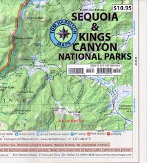 sequoia  kings canyon national parks recreation map (tom harrison