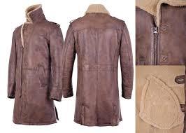 closer look of shearling trench coat men