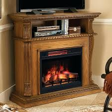 media console electric fireplace real flamer valmont chestnut oak infrared