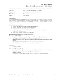 Creative Job Description Post Event Housekeeping Resume Arena