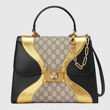 gucci bags 2017 black. gucci black/gold leather/gg supreme iside top handle bag bags 2017 black c