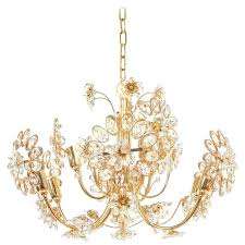 palwa flower chandelier gilt brass and glass germany 1970 for