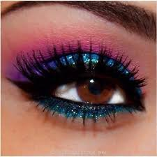 blue and purple metalic prom makeup
