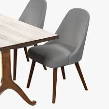 west elm midcentury dining chair and table d model max obj ds