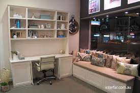 home office fitout. hampton style home office with return bench seat underneath storage fitout