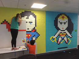 creative office walls. Office-wall-post-it-art-superheroes-ben-brucker- Creative Office Walls A