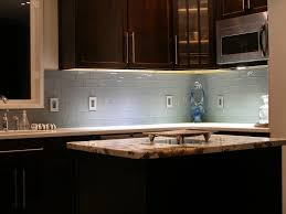 Remarkable Glass Subway Tile Soft Blue Backsplash With Brown Wooden Kitchen  Cabinet Also White Marble CounterTop Modern Kitchen Island Also Popular  Kitchen ...