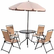 outsunny 6pc patio umbrella set garden bistro table foldable chairs outdoor furniture cream white