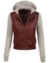 le3no womens faux leather moto er jacket with fleece hoo