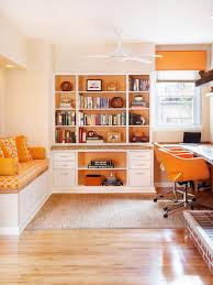 alcove office. Home Office With Pops Of Orange Alcove T