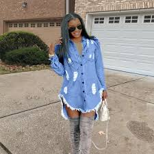 Jeans Dress Designs Women Hiphop Denim Blue Jean Shirt Dress Spring Autumn Ripped Jeans Tassel Designer Dresses Clothing Dress Cocktail Dress Party From Louisvuittonmen